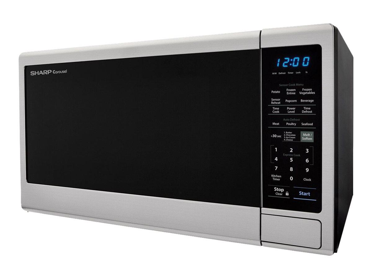 sharp carousel smc1843cm microwave oven freestanding 1 8 cu ft 1100 w black stainless steel