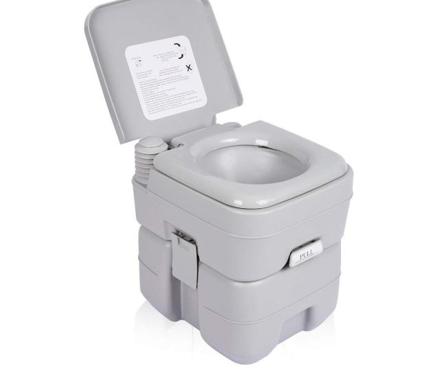 Zimtown Portable Camping Toilet  Gallon Capacity Leak Proof Compact Porta Potty Up To