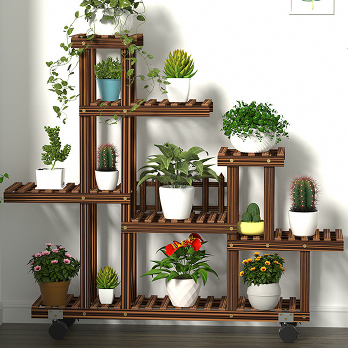 5 Tier Wooden Plant Stand Holder Flower Pot Shelf Garden Display Rack W Wheels Indoor Outdoor Windmill L Shaped Walmart Canada