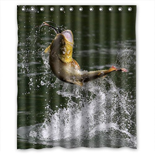 mohome fishing fish shower curtain waterproof polyester fabric shower curtain size 60x72 inches