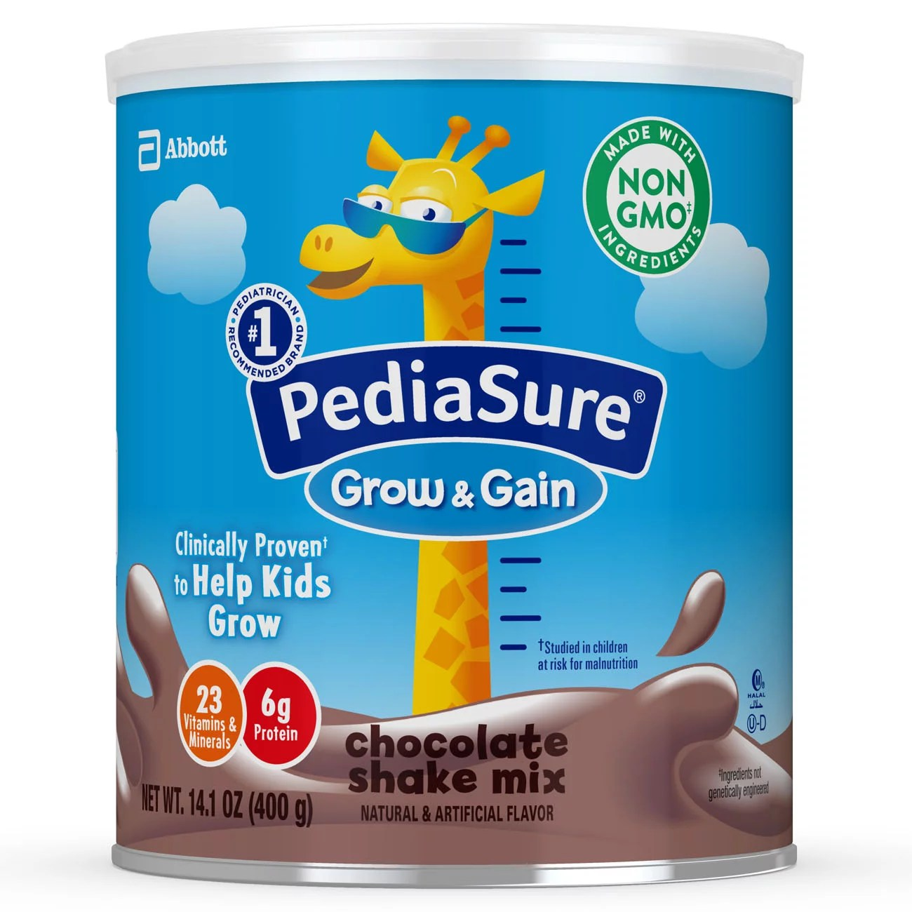 PediaSure Grow & Gain Non-GMO & Gluten-Free Shake Mix Powder, Nutritional Shake For Kids, With Protein, Probiotics, DHA, Antioxidants*, and Vitamins & Minerals, Chocolate, 14.1 oz, 3 Count