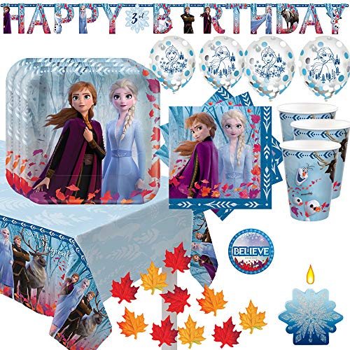 Frozen 2 Birthday Party Supplies And Decoration Pack For 16 With Plates Napkin Tablecover Cups Add An Age Banner Confetti Balloons Snowflake Candle Fall Leaves And Frozen Inspired Pin Walmart Com Walmart Com