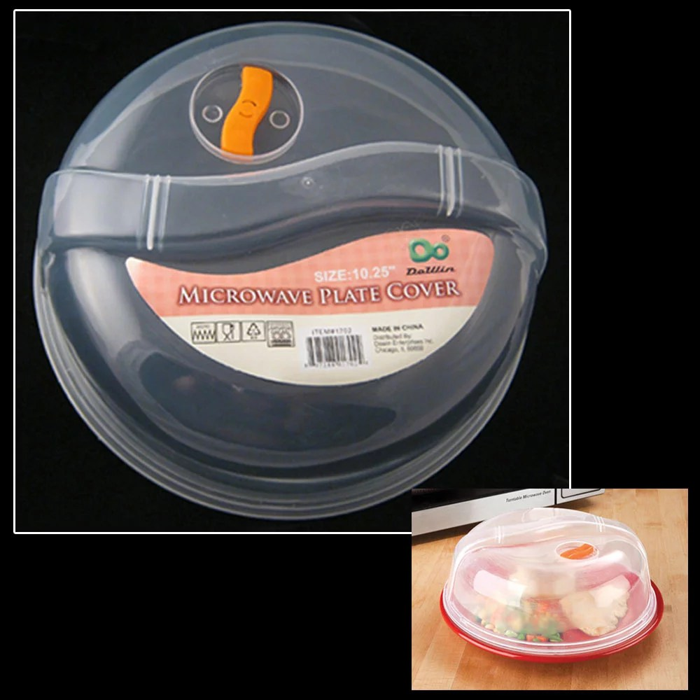 plastic microwave plate cover clear steam vent splatter lid 10 25 food dish new