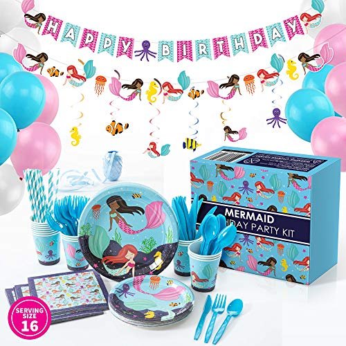 Whoobli Mermaid Party Supplies Serves 16 Complete All In One Mermaid Birthday Party Supplies With Birthday Plates Utensils Cups Napkins And Mermaid Party Decorations For Little Girls Walmart Com Walmart Com