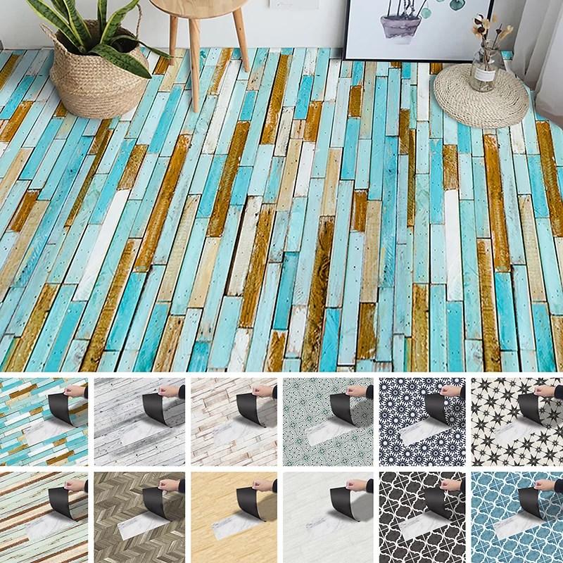 goory 3m vintage wood pattern floor tiles stickers removable peel and stick backsplash murals