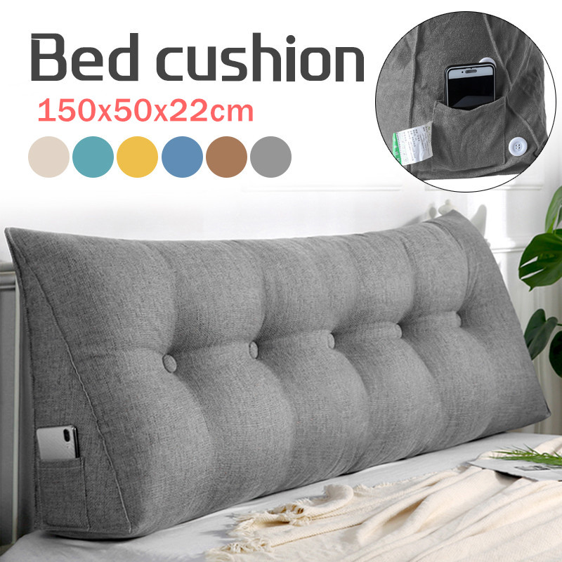 large bolster upholstered wedge pillow headboard backrest cushion triangular reading pillow positioning support for bed sofa with washable cover phone