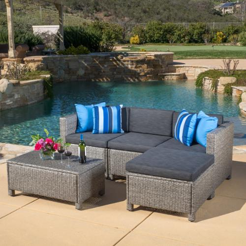 raleigh outdoor 5 piece l shape wicker sectional with cushions multiple colors