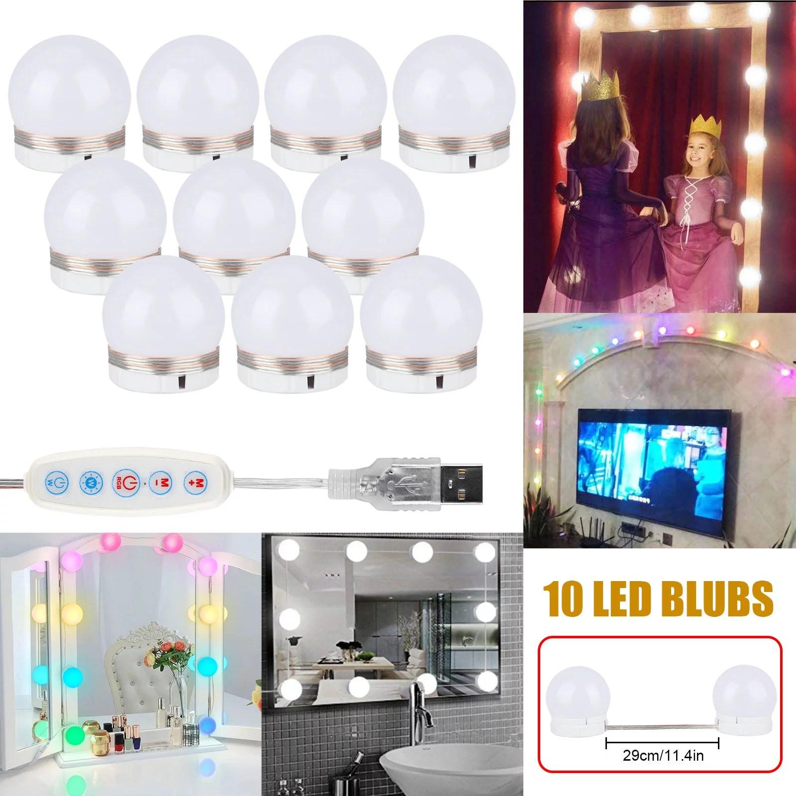 tsv vanity lights for mirror adjustable rgb color diy hollywood style led vanity mirror lights dimmable brightness 10 light bulbs lighting for