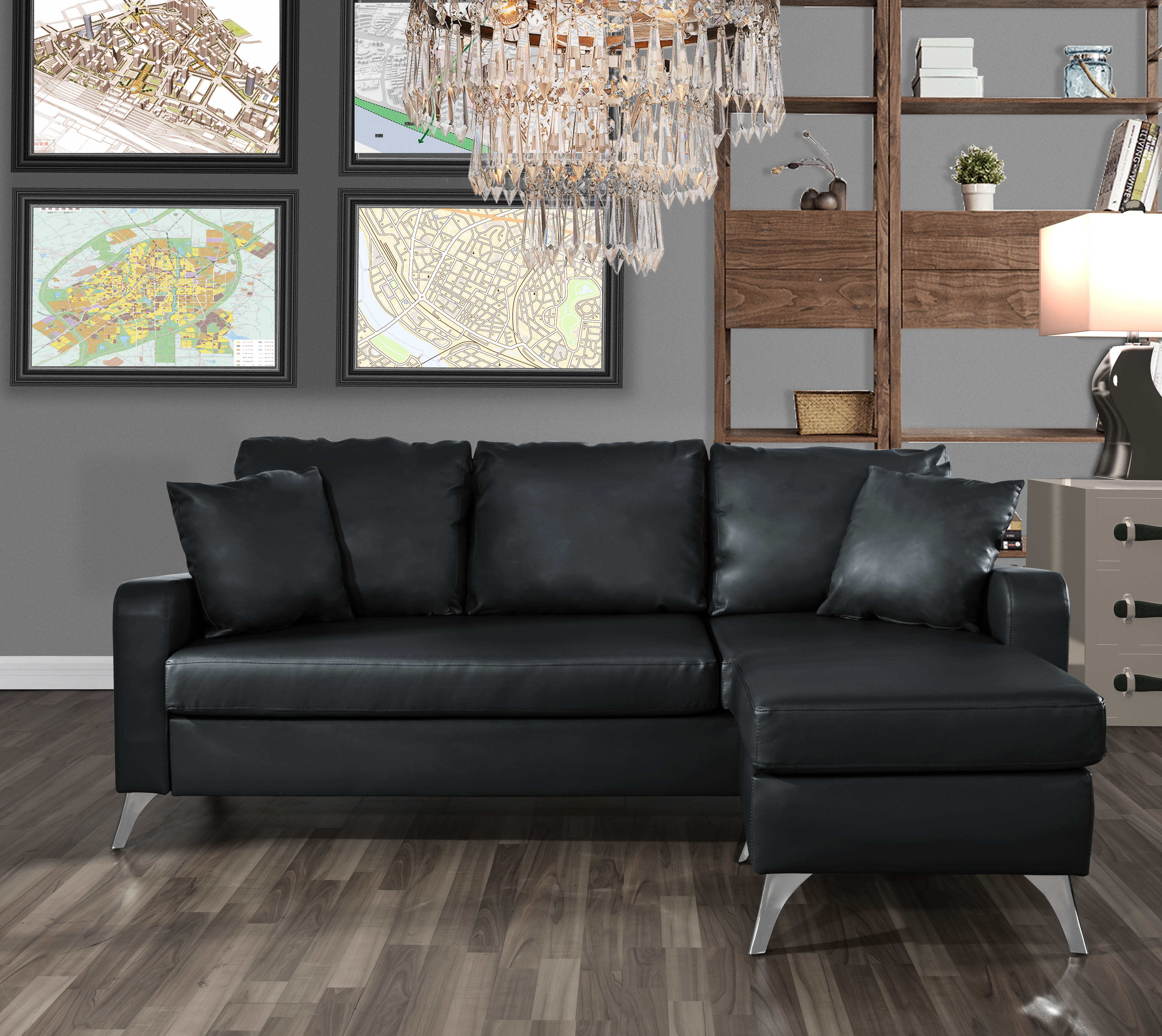 mobilis bonded leather sectional sofa small space configurable couch black