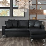 Mobilis Bonded Leather Sectional Sofa Small Space Configurable Couch Black Walmart Com Walmart Com