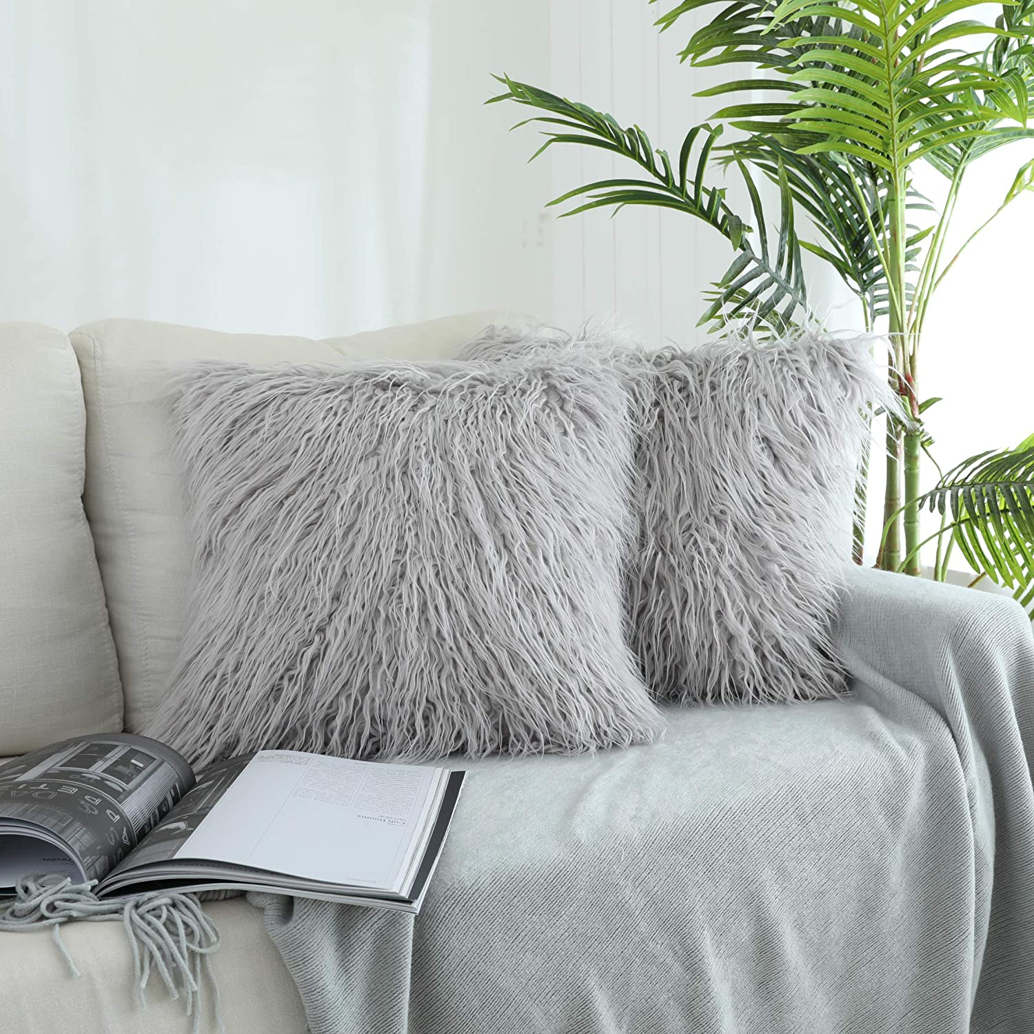 luxury throw pillow faux fur mongolian style plush cushion for couch bed and chair 18 x18 2 pack walmart com