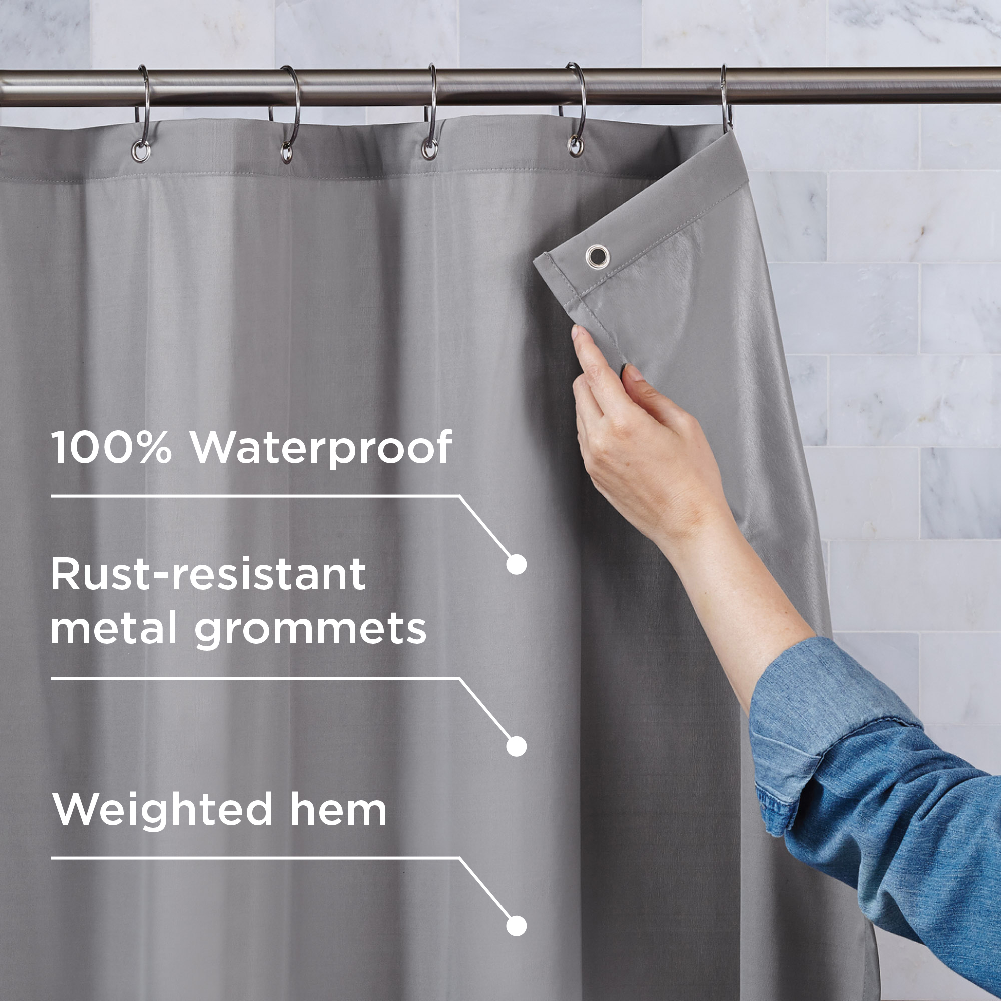 Better Homes Gardens Ultimate Shield 100 Waterproof Fabric Shower Curtain And Liner Walmart Com