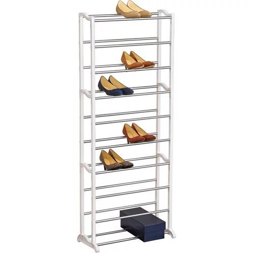 lynk 30 pair shoe rack 10 tier shoe shelf organizer white