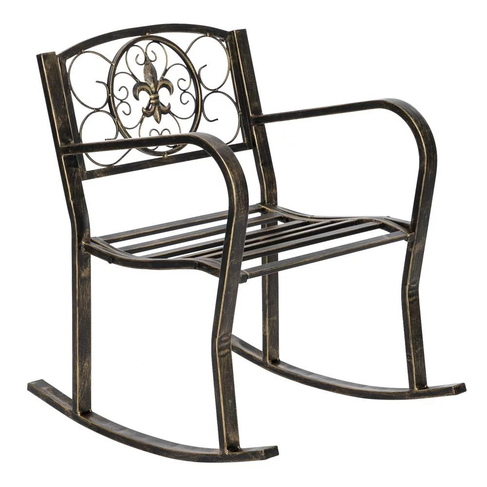 ktaxon outdoor wrought iron rocking chair rustic black