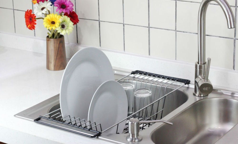 neat o over the sink kitchen dish drainer rack durable chrome plated steel
