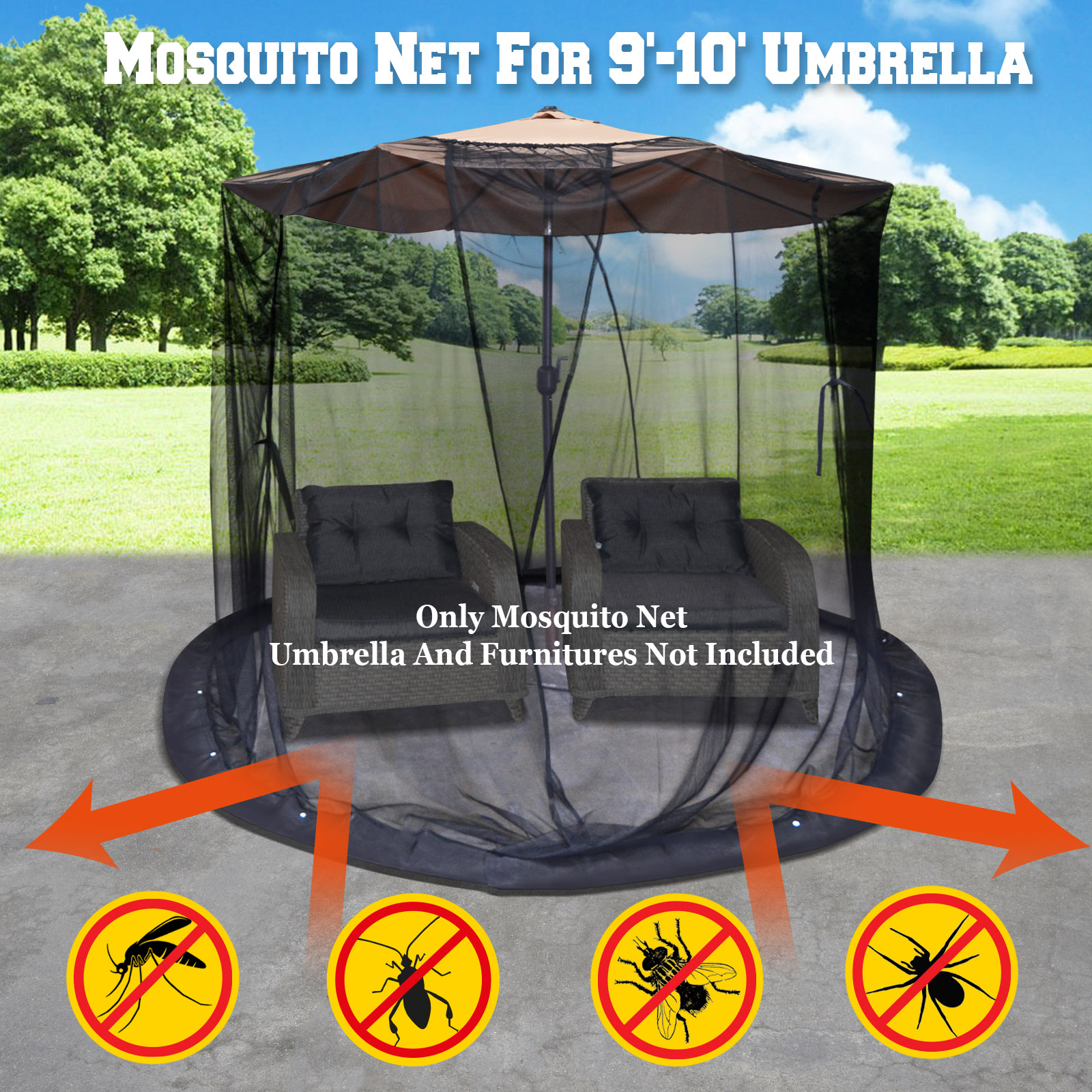 strong camel mosquito net for 9 or 10 patio umbrella set screen house black bug insect net