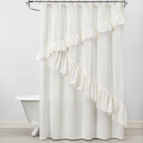 opalhouse asymmetrical ruffle shower curtain white feather 72x72