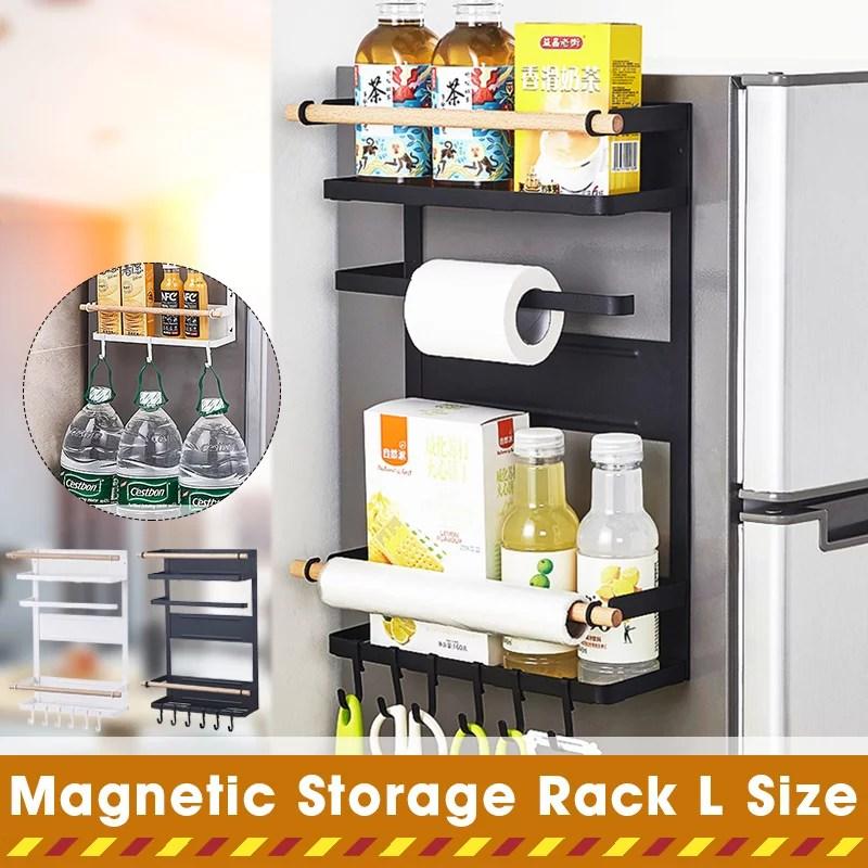 kitchen refrigerator side shelf storage organizer rack fridge spice rack storage shelves magnetic refrigerator storage hanger organizer holder with 6