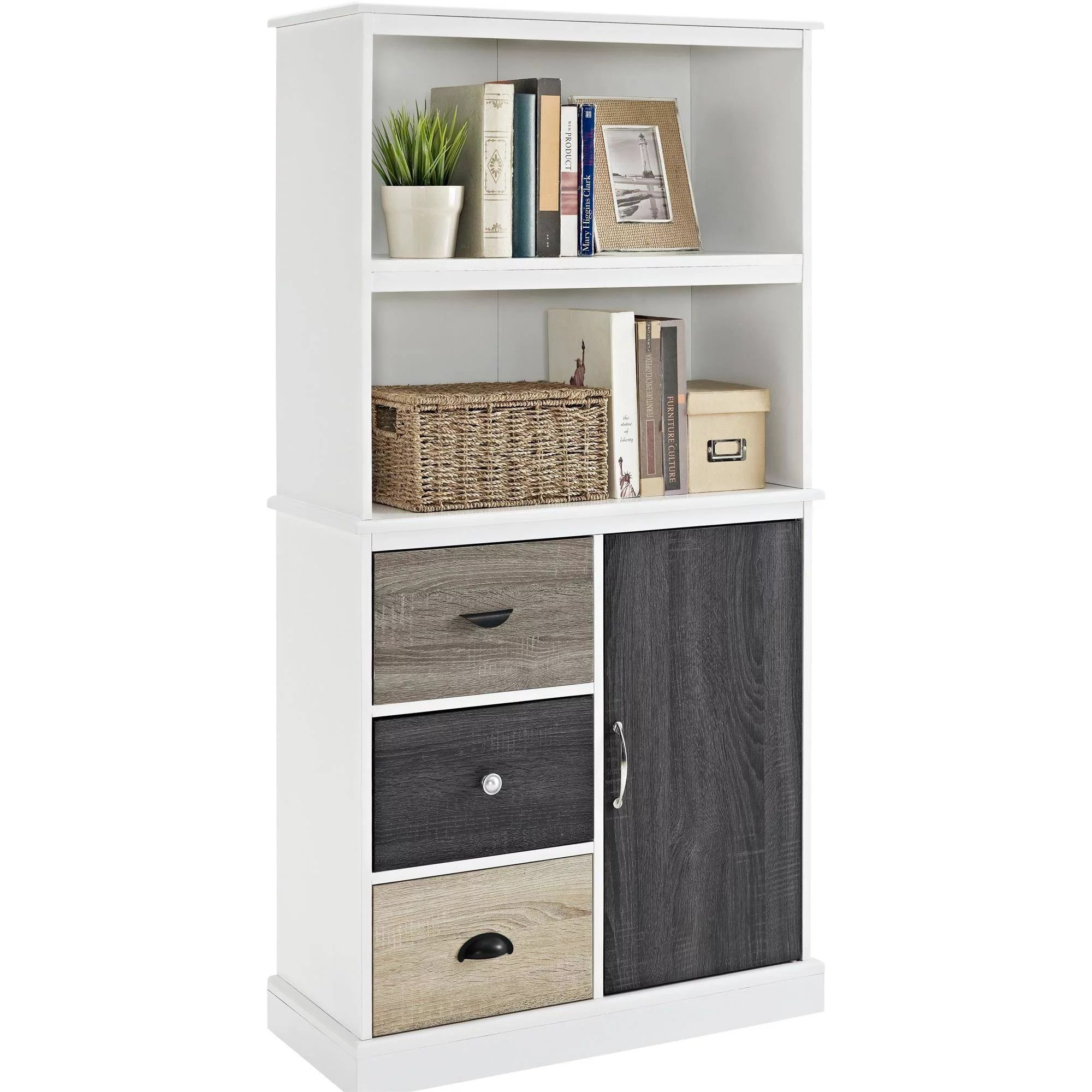 ameriwood home mercer storage bookcase with multicolored door drawers white