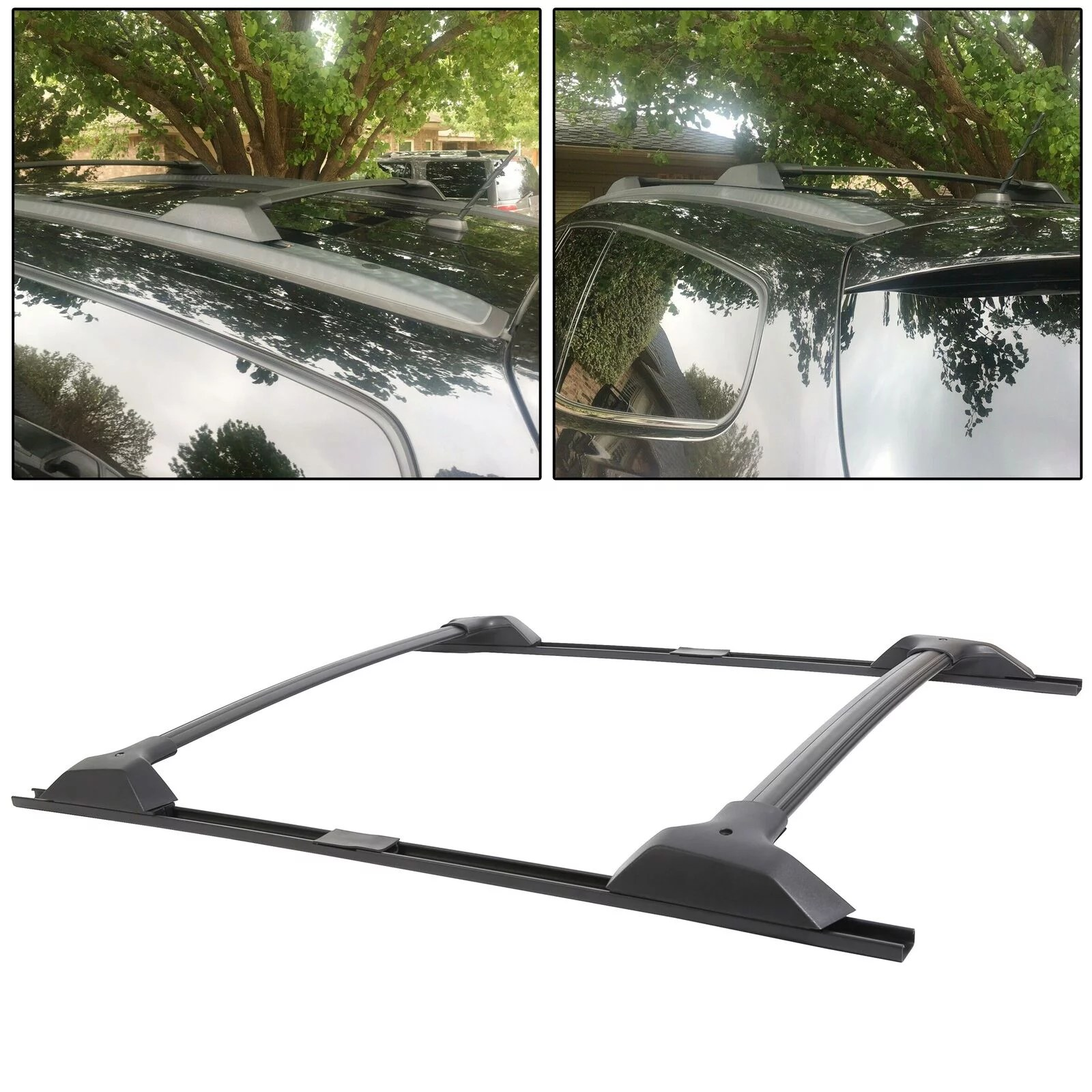 black roof rack cross bar with side rail package for 09 17 chevrolet traverse