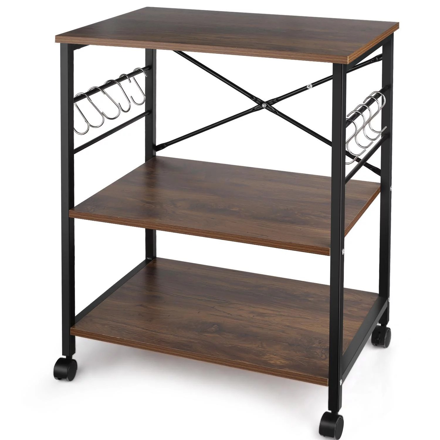 3 tier kitchen cart multifunction rolling microwave oven stand utility storage shelf with metal frame and 10 hooks