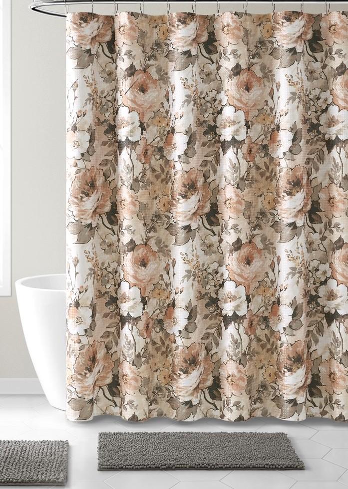 blush pink shower curtain for bathroom vintage floral design walmart com