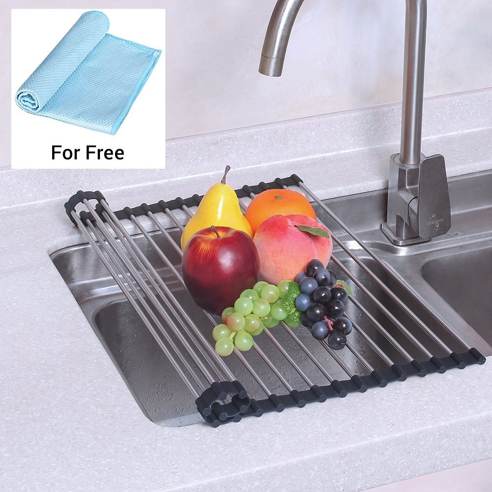 foldable silicone over the sink dish drying rack roll up dish drainer