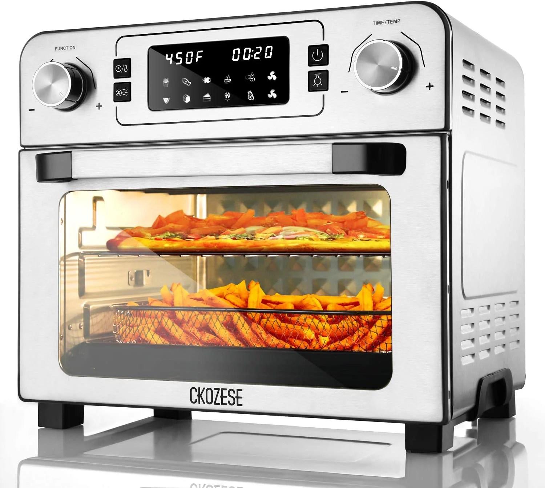 ckozese 1700w 10 in 1 toaster oven air fryer combo stainless steel dehydrator toast bake broil roast 2 level fans speed 60 min timer 23qt xl digital
