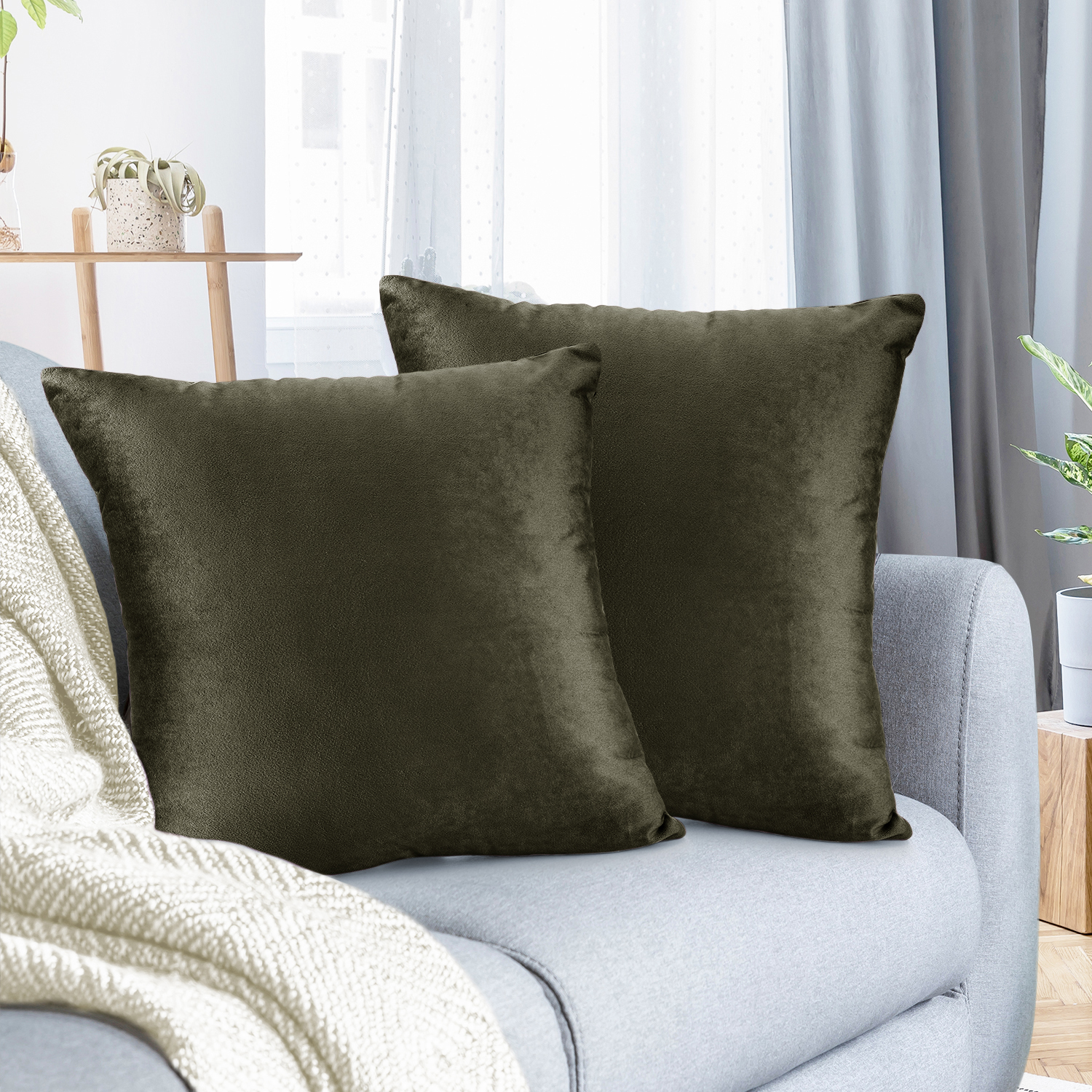 pack of 2 velvet throw pillow covers decorative soft square cushion cover 26 x 26