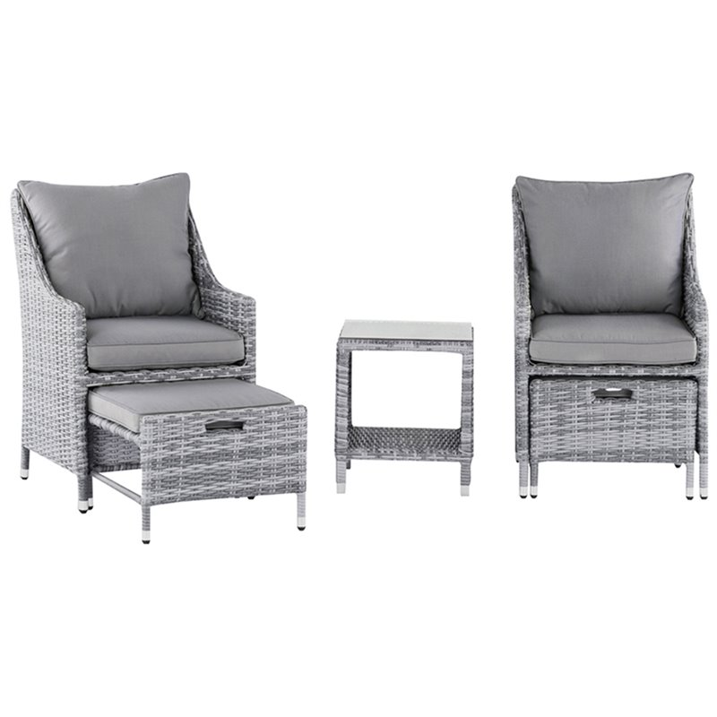 elle decor vallauris 5 piece wicker patio conversation set in gray walmart com