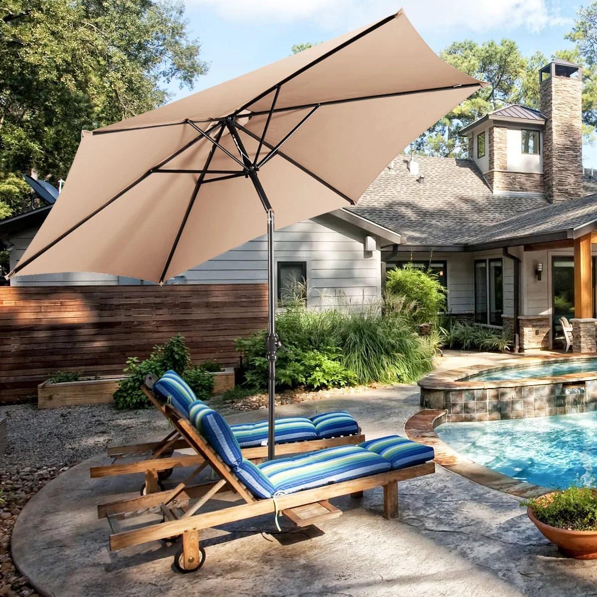 costway 9ft patio umbrella patio market steel tilt w crank outdoor yard garden