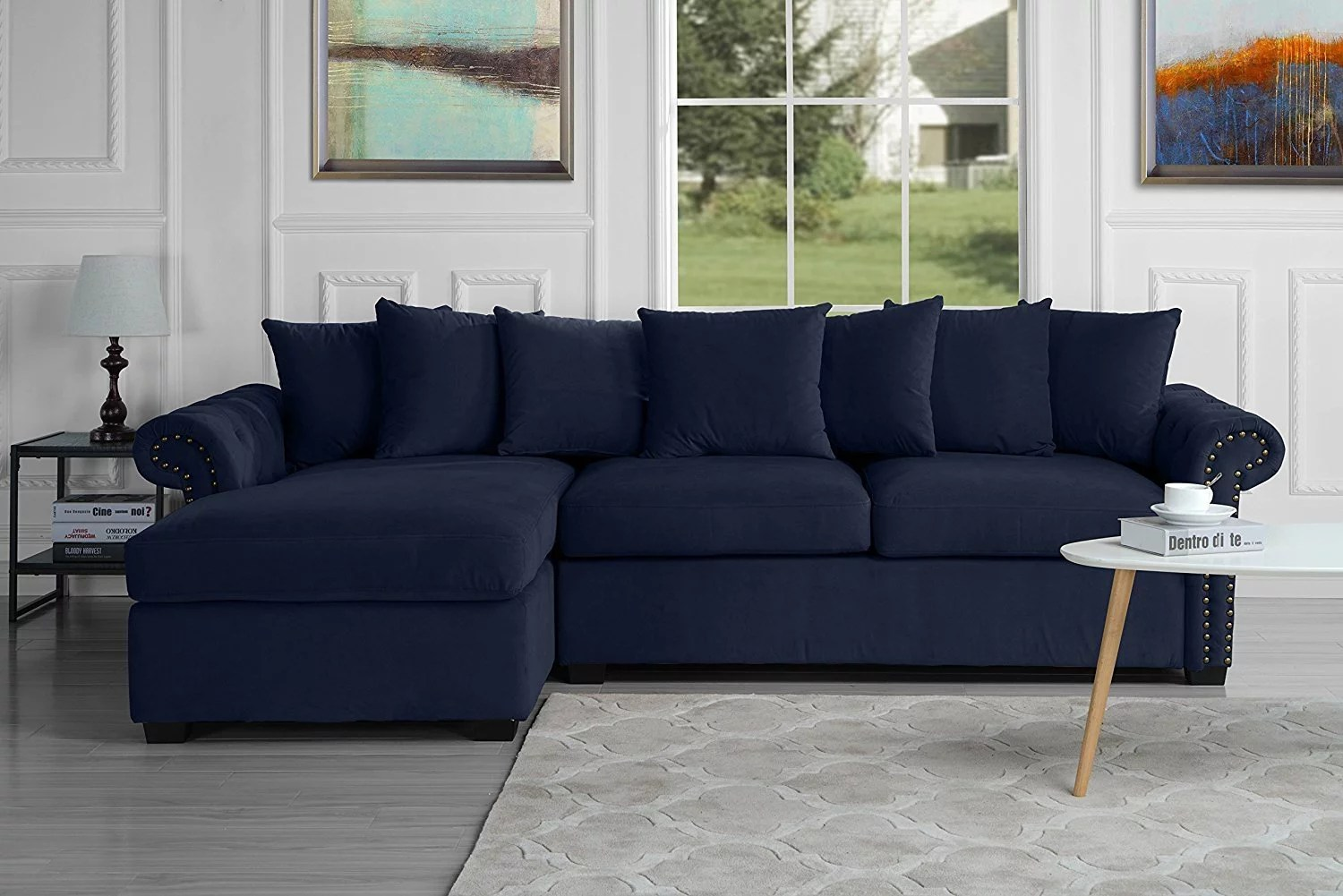 modern large tufted velvet sectional sofa scroll arm l shape couch navy blue