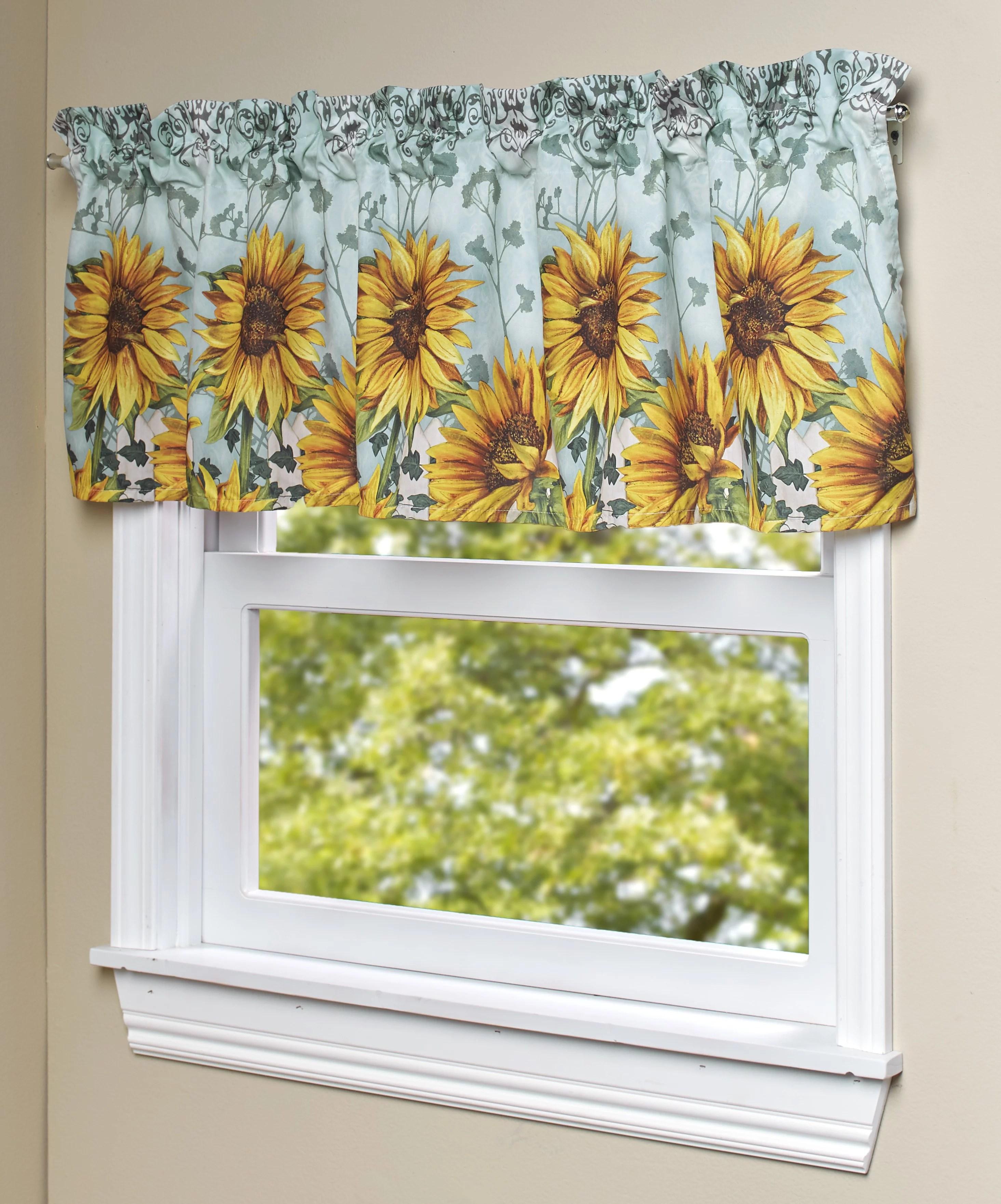 sunflower window valance farmhouse kitchen bathroom curtain with floral print walmart com