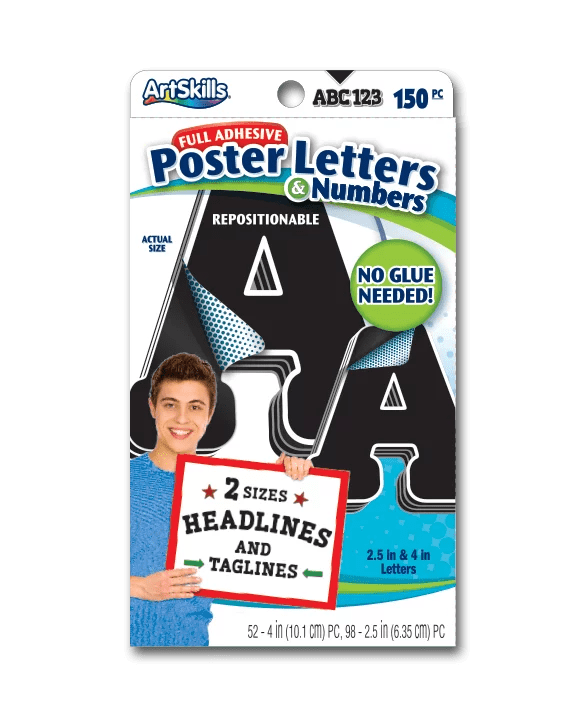 artskills 2 5 and 4 paper letter and number stickers black and white 310pc