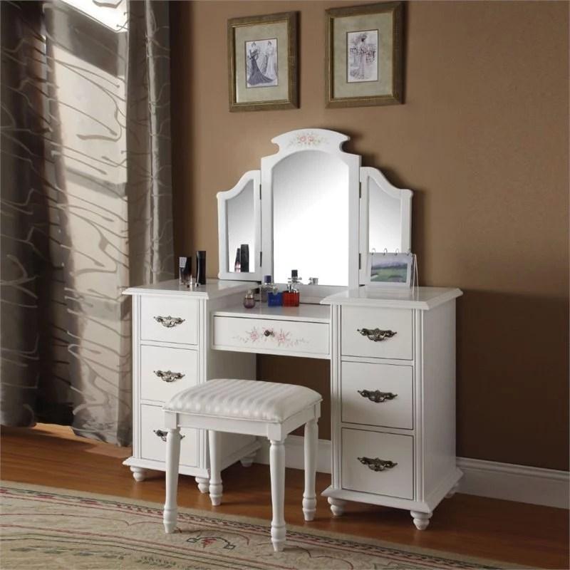 acme torian vanity desk stool white walmart com