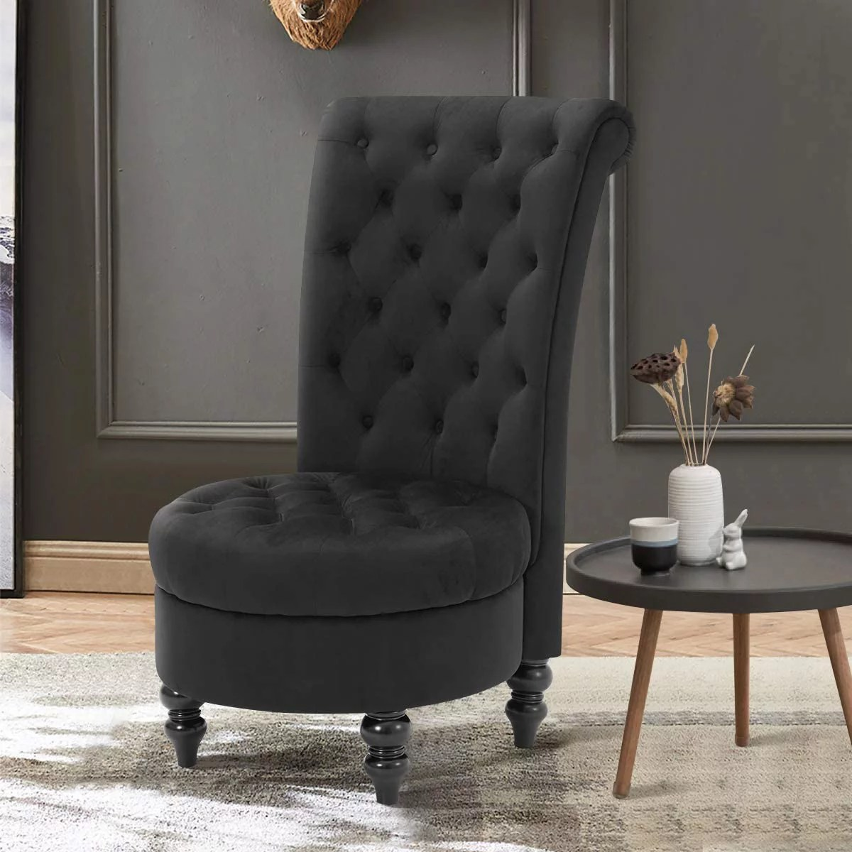 erommy high back accent chair retro armless sofa chair for bedroom living room deep seat chair with sturdy wood legs black