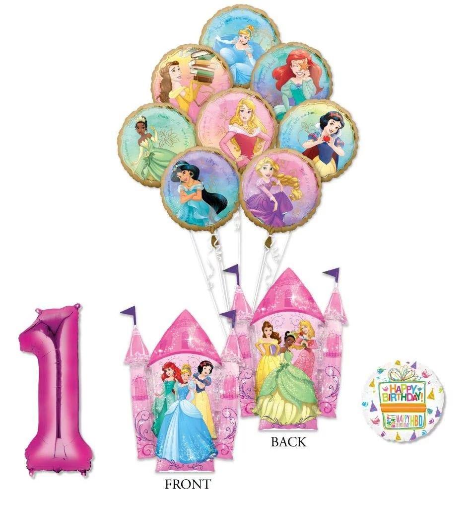 Disney Princess Party Supplies 1st Birthday Balloon Bouquet Decorations With 8 Princesses Walmart Com Walmart Com