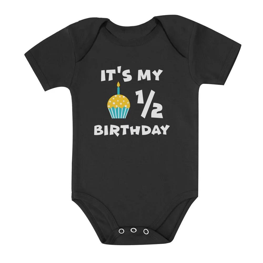 Tstars Tstars Boys Unisex Birthday Gift For 1 2 Year Old Birthday Gifts For Baby Boy It S My Half Birthday Outfit For Baby 1 2 Gift B Day Birthday Party Baby Bodysuit