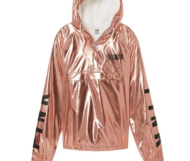 Victorias Secret Victorias Secret Pink Quarter Zip Cozy Sherpa Hoodie Anorak Jacket Rose Gold Walmart Com
