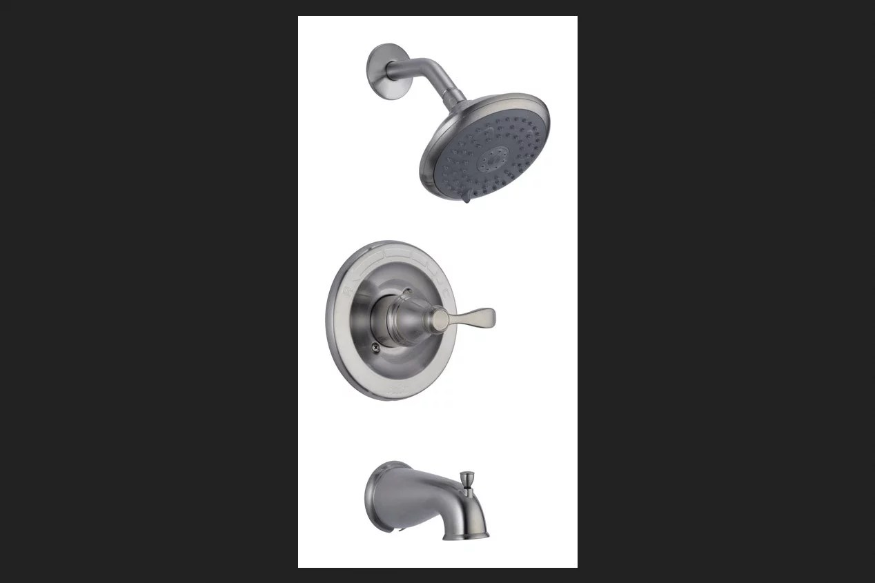 144984 bn delta brushed nickel tub and shower faucet