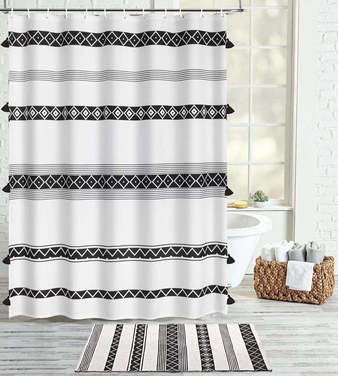 tassel boho shower curtain black