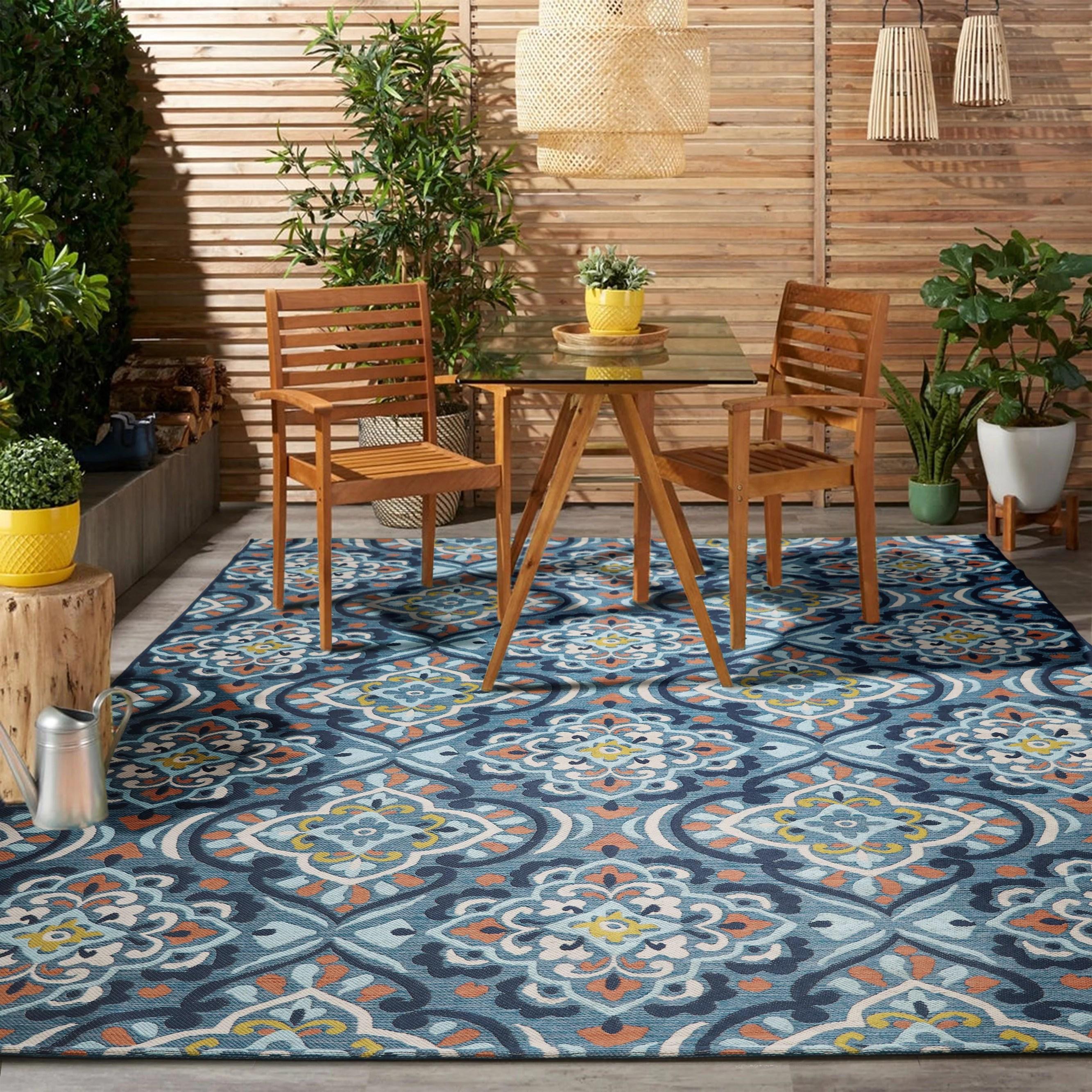 better homes gardens turquoise medallion outdoor rug 7x10