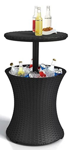 keter pacific cool bar outdoor patio furniture and hot tub side table with 7 5 gallon beer and wine cooler dark grey
