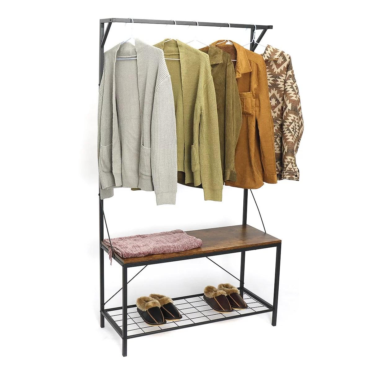 71 industrial pipe clothing garment rack coat rack shoe storage bench 3 tiers and 5 hooks hall tree storage organizer shelf walmart com