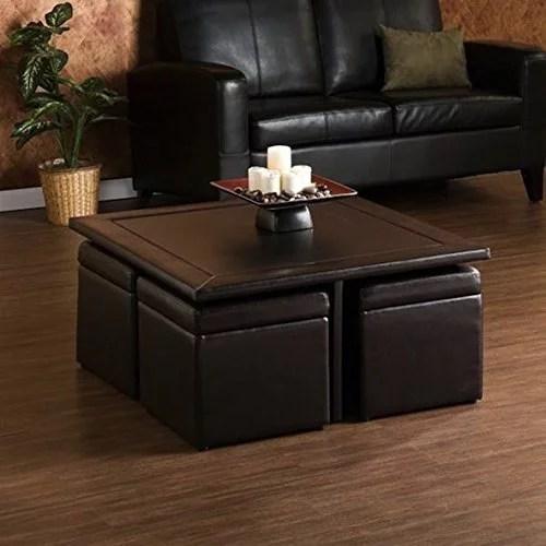 living room rectangular custom wood brown coffee table storage ottoman set