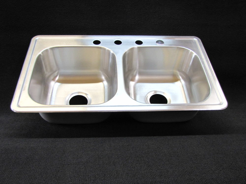 33 x 19 x 8 extra deep double bowl kitchen sink stainless mobile home rv