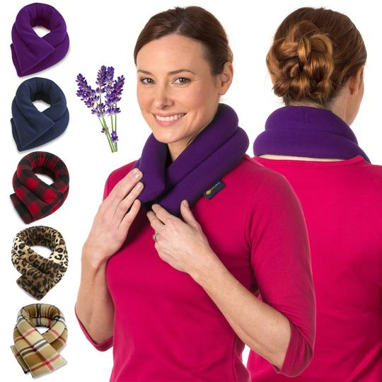 sunny bay lavender neck wrap extra long microwavable moist pad microwave heat pack best for back pain relief purple