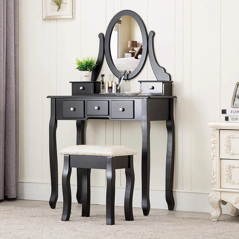 ktaxon black vanity set with stool makeup table with 5 drawers mirror room dresser