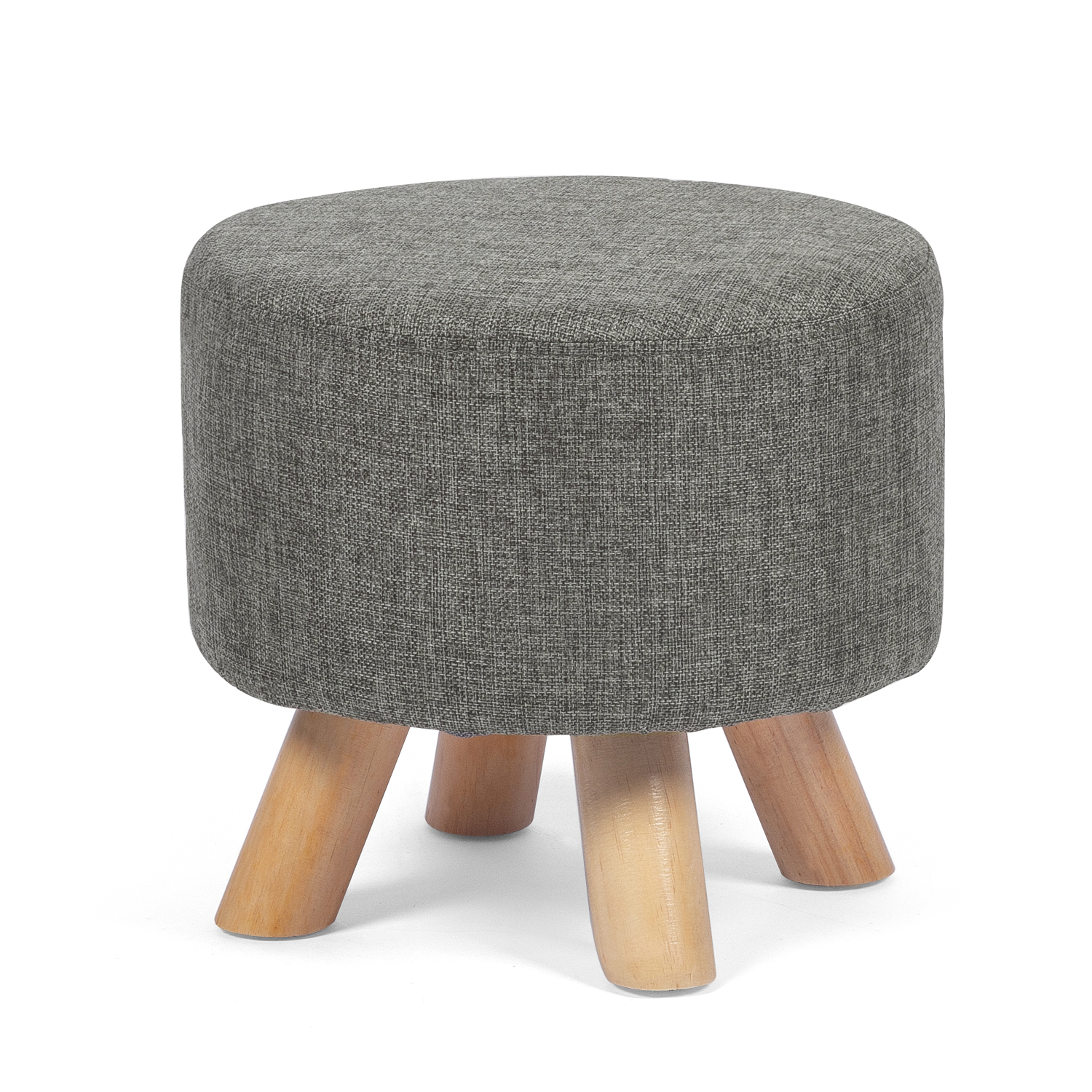 joveco round ottoman foot rest stool small fabric footstool with non skid wood legs grey