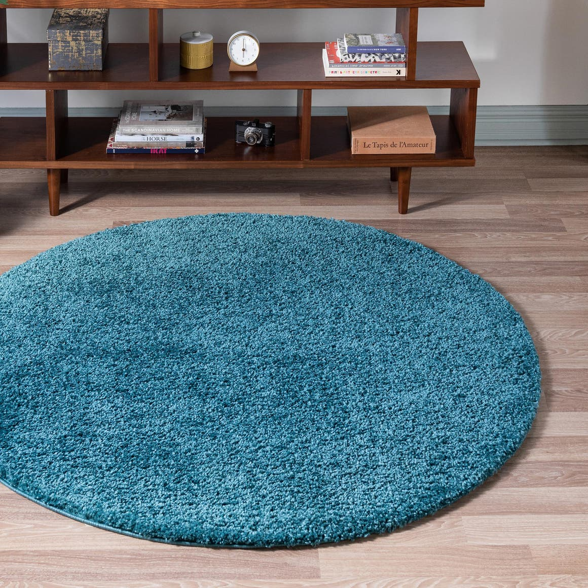 rugs com soft solid shag collection round rug ai 8 ft round turquoise shag rug perfect for kitchens dining rooms